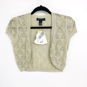 Inc Silver Knitted Cropped Short Sleeve Cardigan